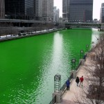 Chicago river dyed for the St Patrick